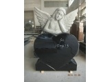 Black Angel Carving Headstone For